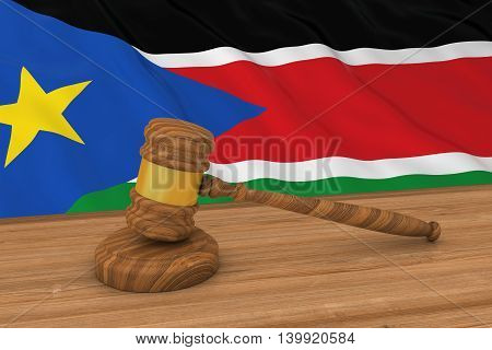 South Sudanese Law Concept - Flag Of South Sudan Behind Judge's Gavel 3D Illustration
