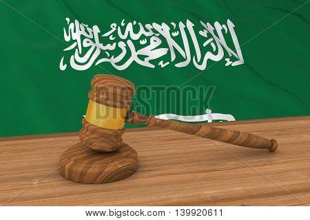 Saudi Arabian Law Concept - Flag Of Saudi Arabia Behind Judge's Gavel 3D Illustration