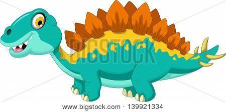 funny dinosaur stegosaurus cartoon look at camera