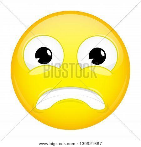 Shock emoji. Surprise emotion. Puzzled emoticon. Vector illustration smile icon.