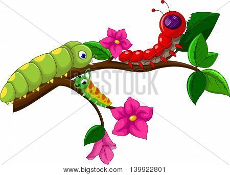 collection of cute caterpillar cartoon in the branch