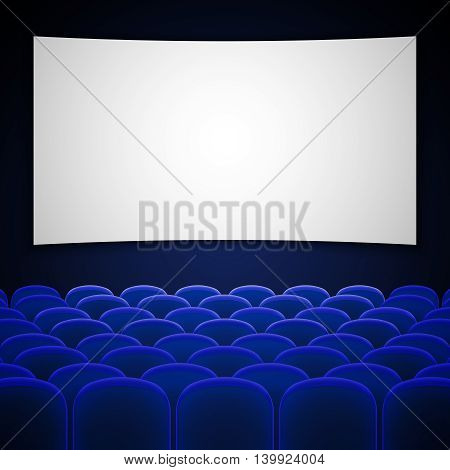 Cinema movie theatre interior vector. Interior for cinema with blue chair, illustration empty cinema hall