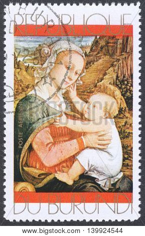 MOSCOW RUSSIA - CIRCA FEBRUARY 2016: a stamp printed in BURUNDIA shows painting