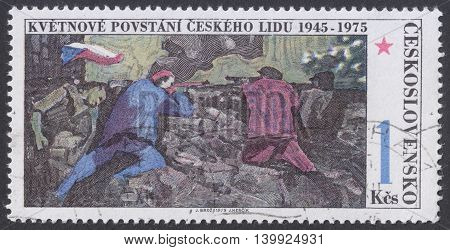 MOSCOW RUSSIA - CIRCA FEBRUARY 2016: a post stamp printed in CZECHOSLOVAKIA devoted to the 30th Anniversary of Czech Rising circa 1975