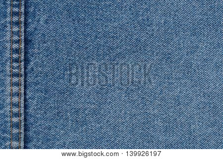 Denim jeans texture or denim jeans background with seam of fashion jeans design with copy space for text or image.