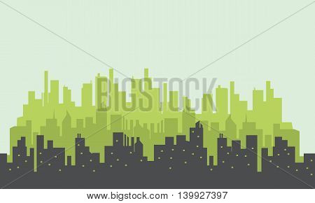 Many building silhouettes scenery vector art collection stock