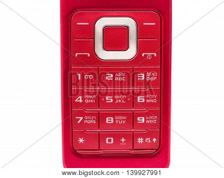 retrofitted buttons mobile phone on white background
