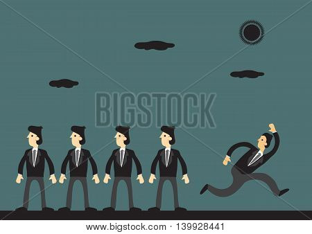 Cartoon businessman running away in opposite direction from homogeneous workers. Vector business illustration on being different and non-conformity concept.
