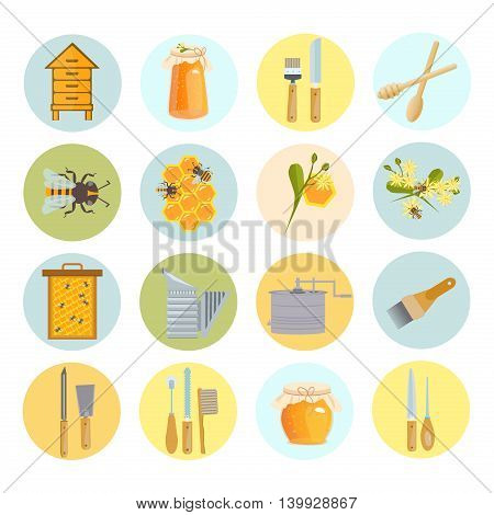 Icons apiaries and bee vector linden blossom. Bee flying in beehive, jar honey and honeycomb, beekeeper apiary. Apiary set art. Apiary set honey beekeeping beeswax apiary bee, honey jar, little bee.