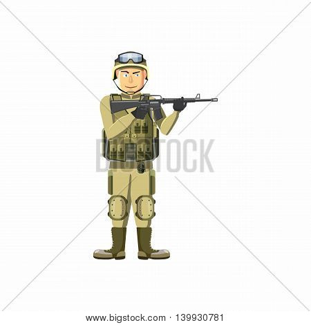 Infantryman with weapons icon in cartoon style isolated on white background. People symbol