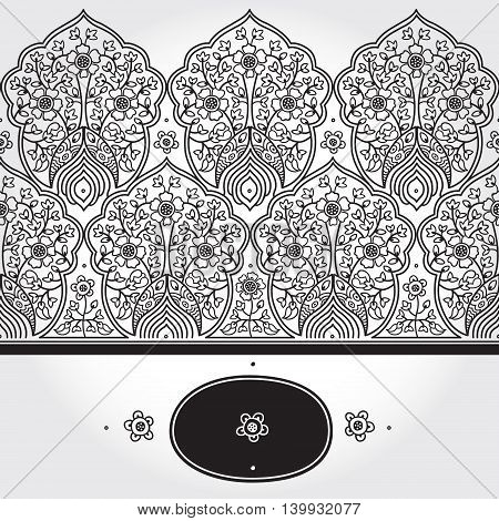 Vintage seamless border with lacy ornament. Floral frieze in east style. It can be used for decorating of wedding invitations greeting cards decoration for bags and clothing. poster