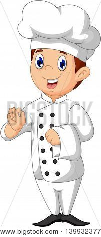 cute chef cartoon posing for you design