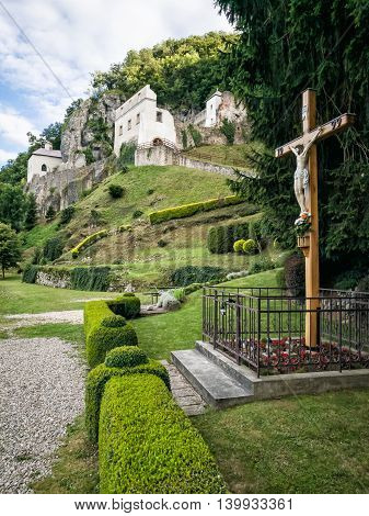 Monastery Skalka near Trencin Slovak republic. Place of worship. Architectural theme. Religious symbol. Crucifixion of Jesus Christ. Cultural heritage.