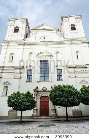 Jesuit church in Skalica Slovak republic. Religious architecture. Place of worship. Cultural heritage.