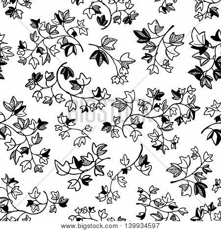 Black and white doodle ivy leaves seamless pattern