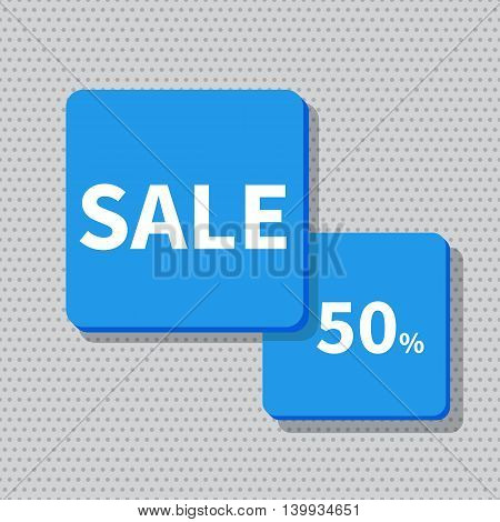 Stock Vector Illustration. Sale banner blue - discount 50 off.