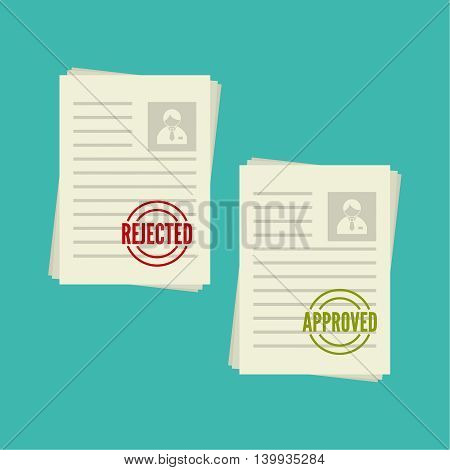Pack sheets paper with stamp of rejected, approval. Summary with  mark about refusal,  acceptance. Cv denial, approved. resume, personal file