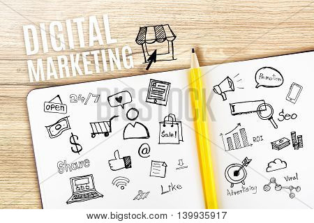 Open Notebook On Wooden Desk With Icon Relate With Digital Marketing, Business Concept