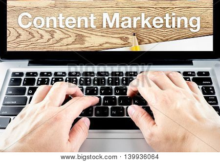 Hand Type On Laptop With Content Marketing Word With Blur Background, Digital Marketing Concept