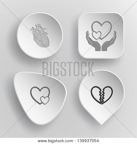 4 images: love in hands, careful heart, unrequited love. Heart shape set. White concave buttons on gray background. Vector icons.