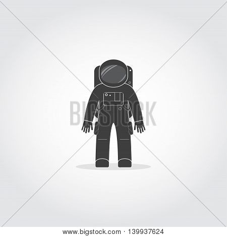 Simple black icon of cosmonaut or astronaut wearing space suit with helmet and backpack with life support system.