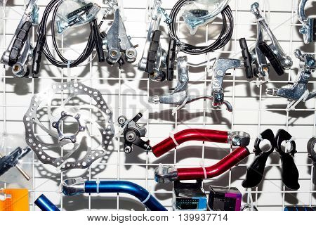 Components for professional bikes. Separate parts. Bike components. Active life style