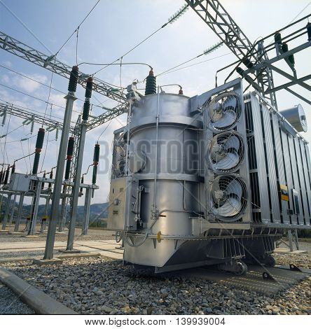 High-voltage power transformer located in a power plant