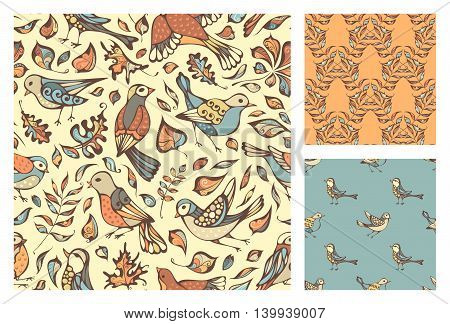 Vector Set Of Seamless Birds And Leaves Patterns.