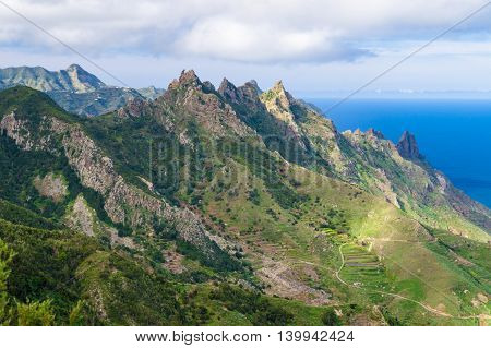 Anaga mountains and valley view from Mirador El Bailadero Tenerife island Spain