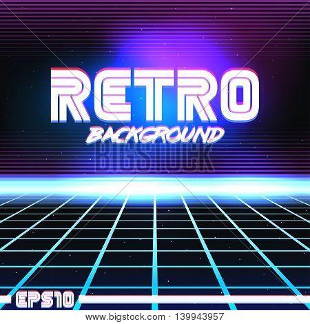 80s Retro Sci-Fi Background VHS. Vector EPS10
