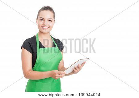 Successful Hypermarket Employee Holding Modern Tablet