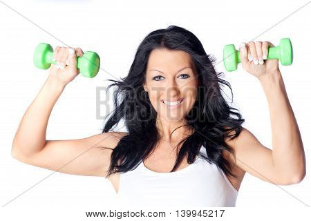 Portrait of a woman doing an exercise with bar-bells
