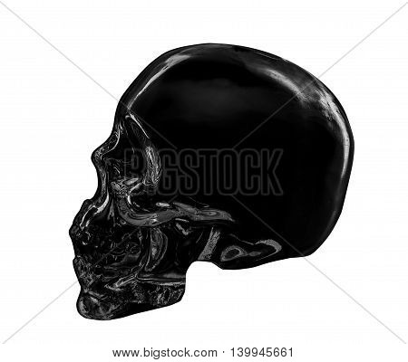 Black Color skull isolated dicut with clipping path