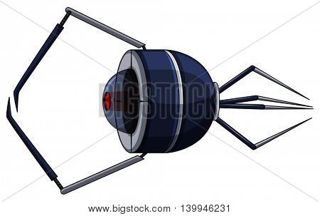 Nanobot with legs and laser beam illustration