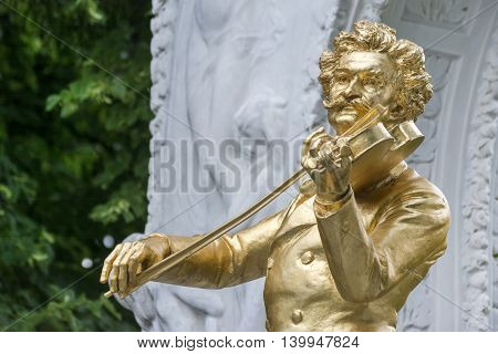 VIENNA, AUSTRIA, JULY 4,2016: Close up shot of Johann Strauss Monument inside Stadtpark (City Park) in Vienna, Austria.