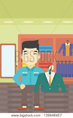 An asian young man holding hanger with suit jacket and shirt. Man choosing suit jacket at clothing store. Shop assistant offering suit jacket. Vector flat design illustration. Vertical layout.