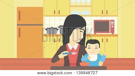 An asian mother feeding baby at home. Young mother teaching baby to eat with spoon. Mother spoon-feeding her baby at kitchen. Vector flat design illustration. Horizontal layout.