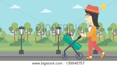An asian young mother walking with baby stroller in the park. Mother walking with her baby in stroller. Mother pushing baby stroller. Vector flat design illustration. Horizontal layout.
