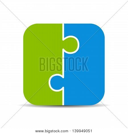 Two piece puzzle diagram isolated on white background