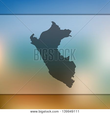 Peru map on blurred background. Blurred background with silhouette of Peru. Peru. Peru map. Blurred background. Silhouette of Peru. Peru vector map.