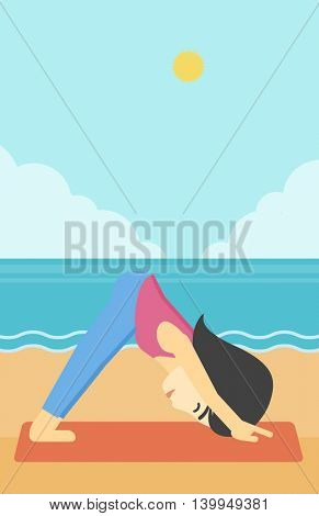 An asian young woman standing in yoga downward facing dog pose on the beach. Woman doing yoga on nature. Vector flat design illustration. Vertical layout.