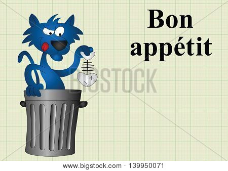 Cat with fish dinner bon appetit translates as enjoy your meal on graph paper background with copy space for own text