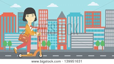 An asian young woman riding a kick scooter. Business woman with briefcase riding to work on scooter. Woman on kick scooter in the city street. Vector flat design illustration. Horizontal layout