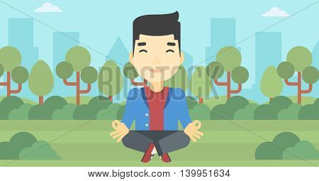 An asian young businessman meditating in yoga lotus position. Businessman relaxing in the park in the lotus position. Vector flat design illustration. Horizontal layout
