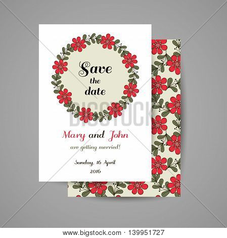 Wedding invitation with hand drawn red flowers on gray background. Vector illustration.