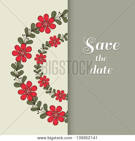 Greeting postcard with hand drawn red flowers. Vector illustration.