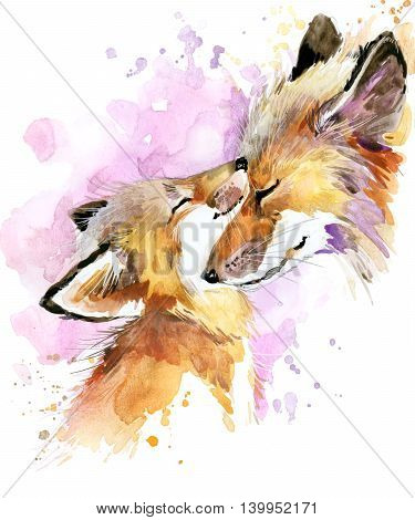 Fox watercolor. Fox and baby fox. Fox family watercolor illustration. Motherhood watercolor background