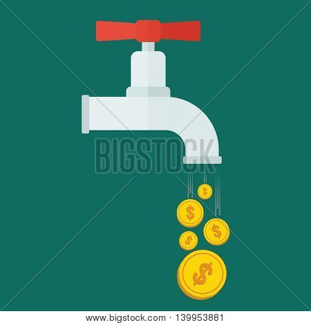 Crane with gold coins. Conceptual image of extravagance, frivolous with money. Objects isolated on white background. Flat cartoon vector illustration.