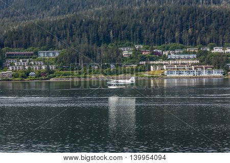 Seaplane in the harbor in the wilderness of Alaska