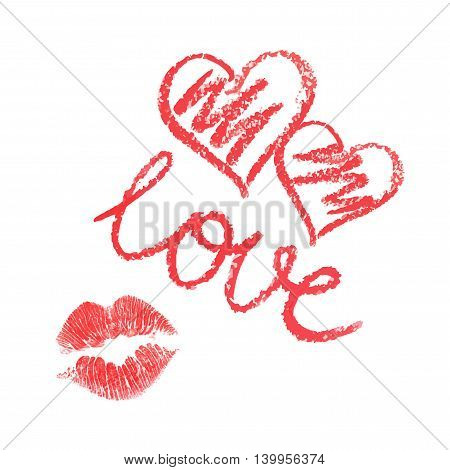 Vector set of lipstick drawn hearts and kiss on white background